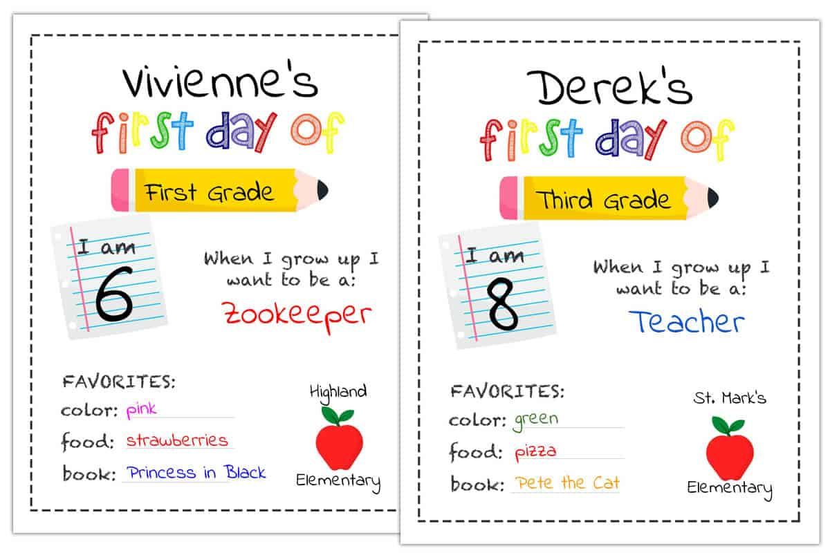 First Day Of School Sign Personalized Printable Mrs Merry