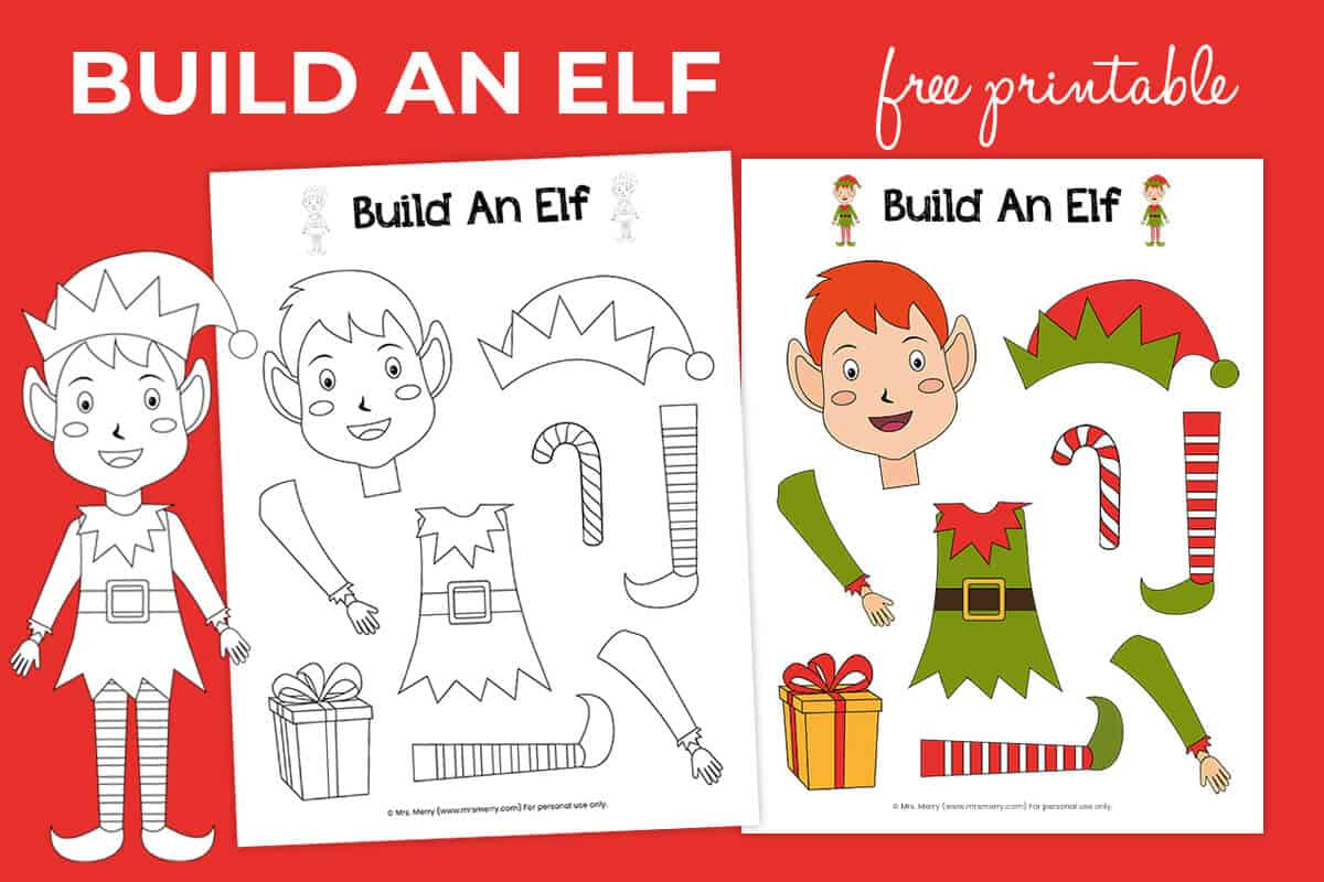 Free Printable Build An Elf Christmas Activity Mrs Merry