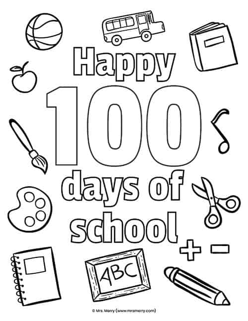100 Days Of School Coloring Pages Robertdee.org