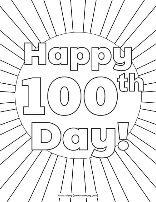 100 Days Of School Activities & Coloring Pages Free Printables - Mrs.  Merry