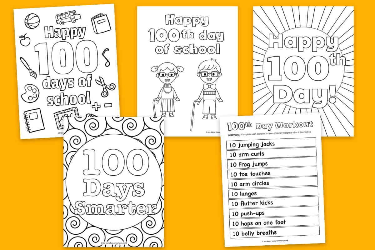 100 Days Of School Activities Coloring Pages Free Printables Mrs Merry