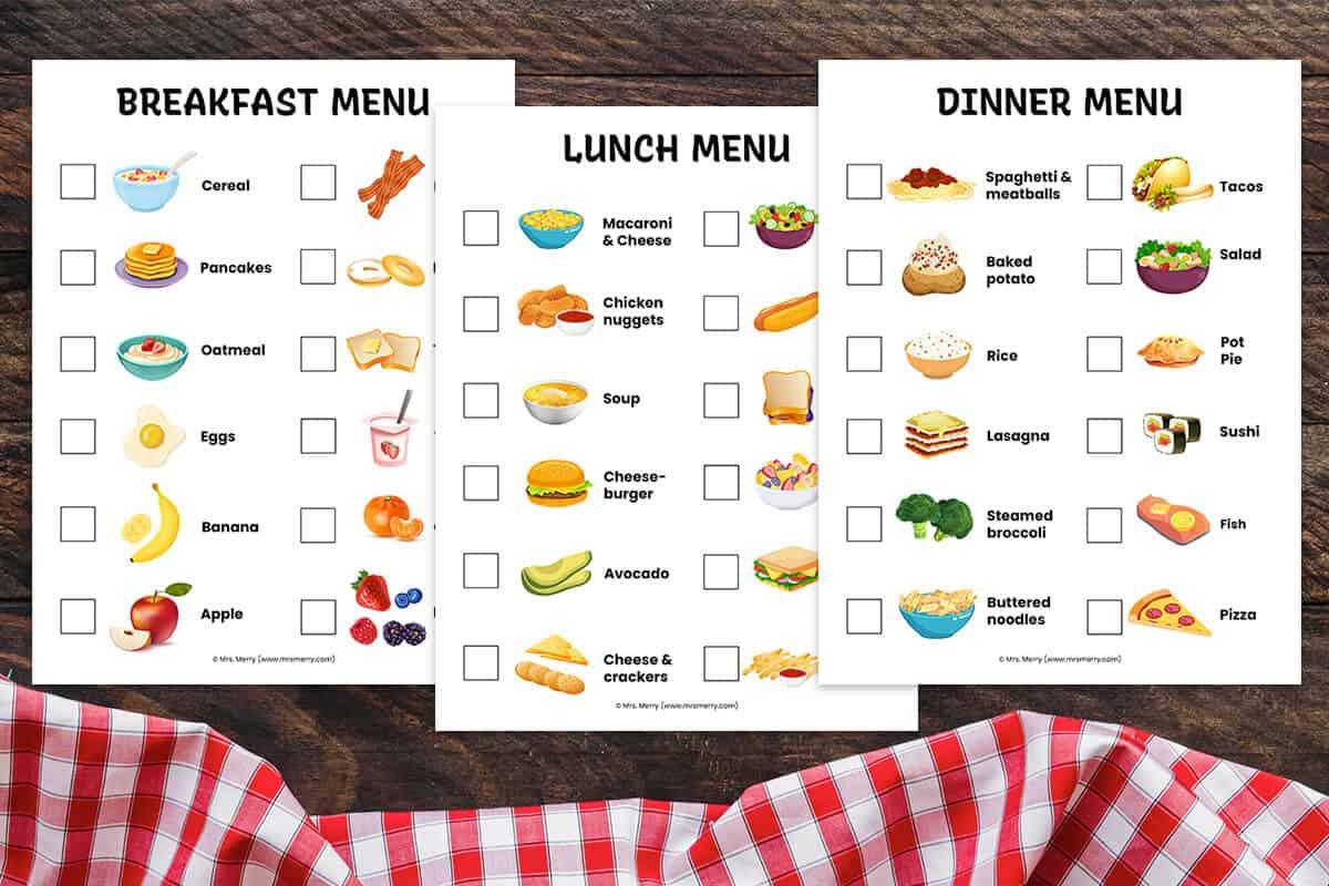 Pretend Play Restaurant Menus Breakfast Lunch Dinner Free Printables Mrs Merry