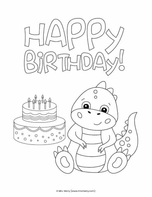 20 Free Happy Birthday Coloring Pages For Kids Mrs Merry