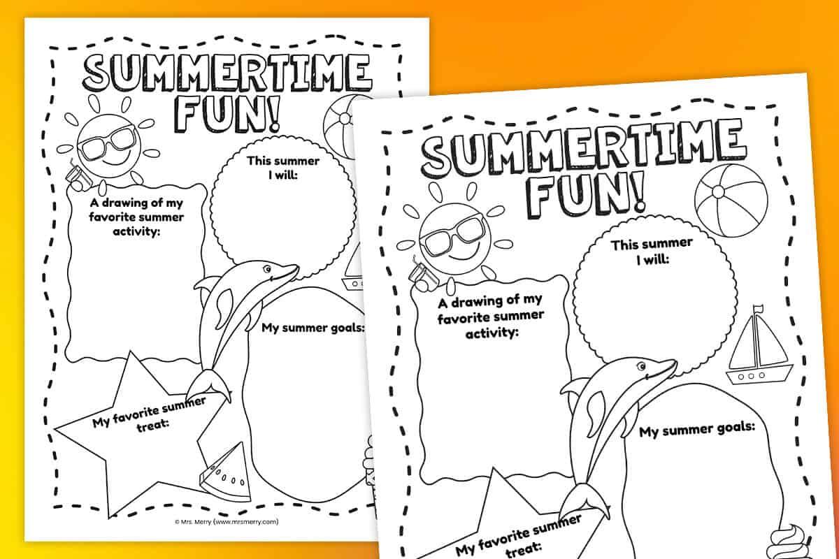 Free Printable Summer Activities Worksheet Mrs Merry